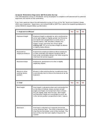workstation assessment template computer workstation set up checklist