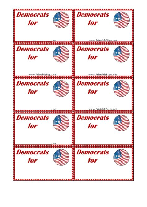 palm card template pages democrats support sign palm cards template printable pdf