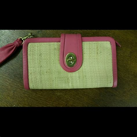 Coach Straw Wristlet by 69 Coach Clutches Wallets Coach Straw Pink