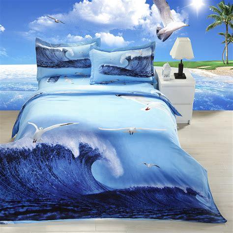 3d bed sheets 3d bedding blue sea wave pattern queen size bedding set 3d