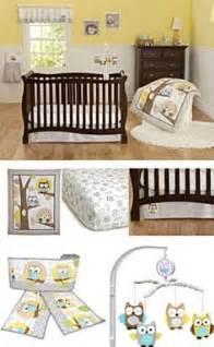 Yellow gray owl neutral baby boy girl nursery 8pc crib bedding bumpers