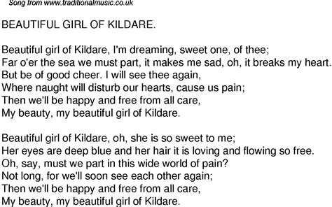 old time song lyrics for 43 beautiful girl of kildare