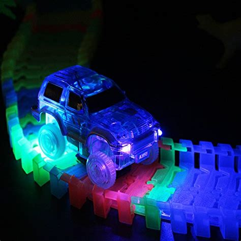 light up race track race track glow in the dark flexible race car track with