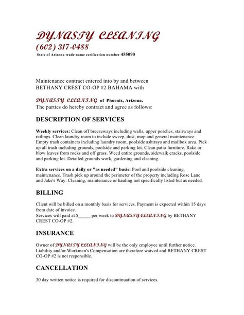 contract for cleaning services template 7 best cleaning service images on cleaning