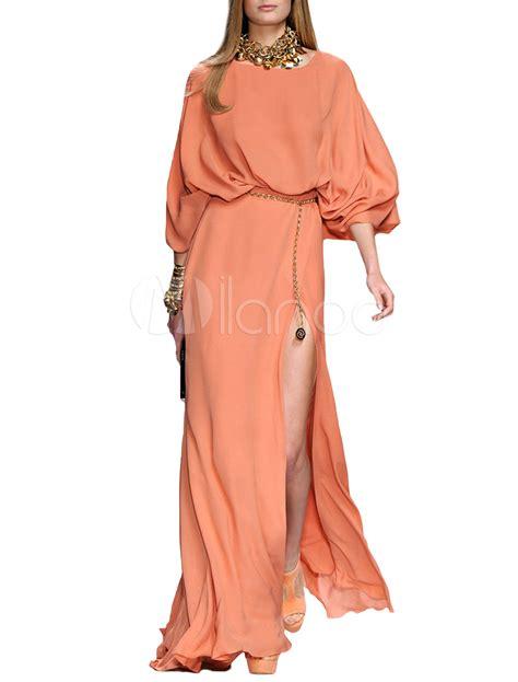 Maxi Bodycon Side Tb orange batwing sleeve side split chiffon maxi dress