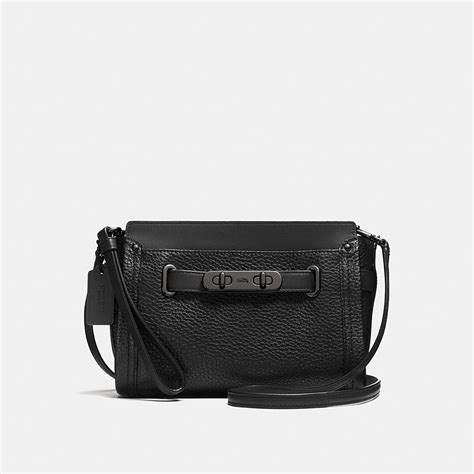 New Arrival Coach Swagger Mini coach swagger wristlet in pebble leather