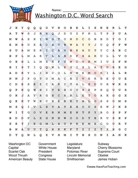Dc Search Washington D C Word Search Worksheet Teaching