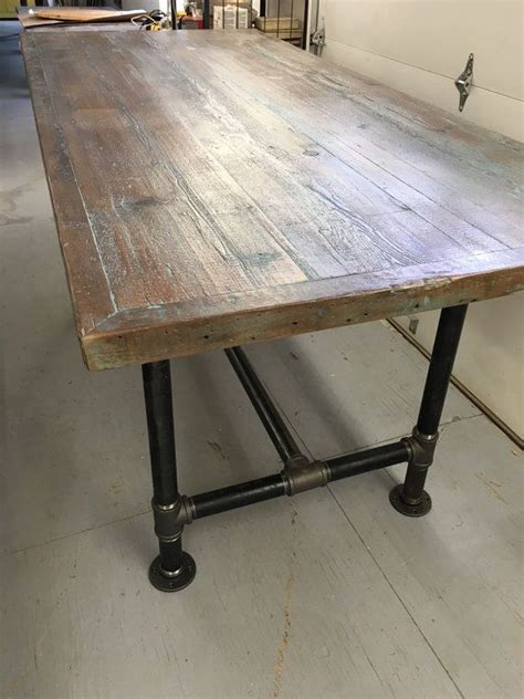 industrial pipe table legs best 25 wood table tops ideas on table top