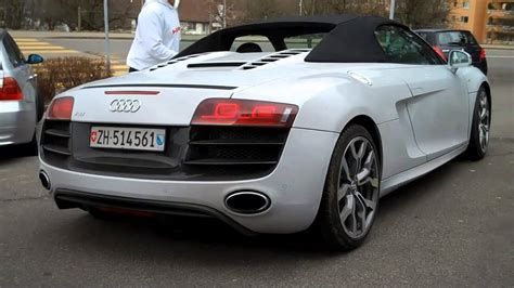Audi R8 Black Convertible by White Audi R8 Convertible Parked Walkaround And Drive Away