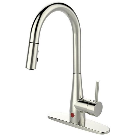 brushed nickel kitchen faucet runfine single handle pull sprayer kitchen faucet in