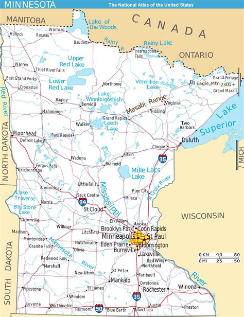 minnesota on the map of usa large detailed map of minnesota state with roads and major
