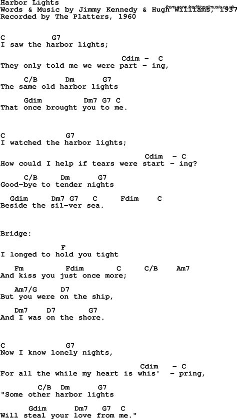 Lights Chords by Song Lyrics With Guitar Chords For Harbor Lights The Platters 1960