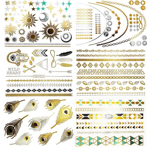 henna tattoo gold amazon premium henna metallic tattoos gold and