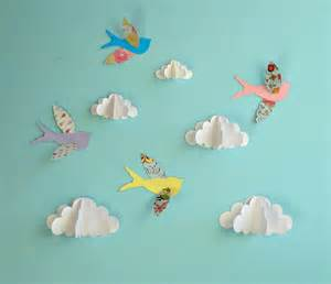 paper bird wall decor birds and clouds 3d paper wall wall by goshandgolly