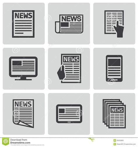 jpg to eps format vector black newspaper icons set stock vector image