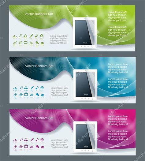 design banner computer collection banner design tablet pc computer stock vector