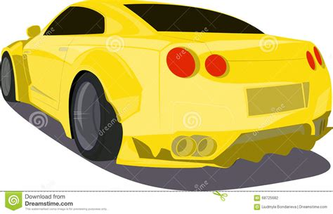 cartoon car back gold cartoon sport car back view stock vector image