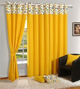 Yellow Cotton Curtains Buy Swayam Yellow Cotton 60 X 54 Inch Eyelet Window Curtain Solids Window Curtains