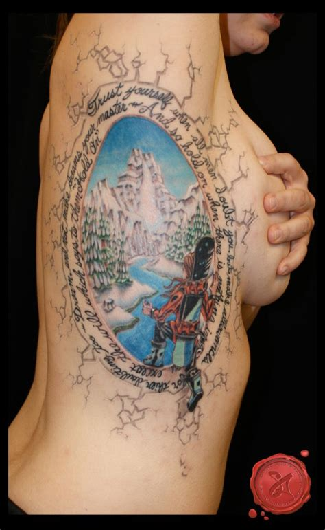 tattoo on ribs tips winter wonderland snowboarder rib tattoo sa design art