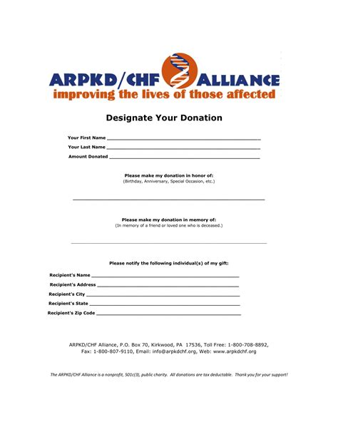 Donation Notification Letter Support The Arpkd Chf Alliance Arpkd Chf Alliance