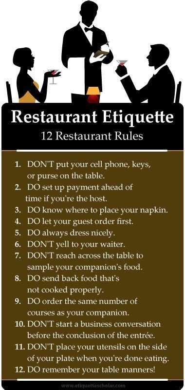 restaurant dos donts great dining etiquette tips eating nice restaurant lots dining etiquette pages covering dining