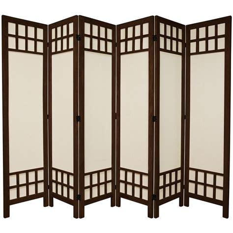Oriental Furniture 6 Ft Burnt Brown Muslin Window Pane 6 6 Panel Room Divider