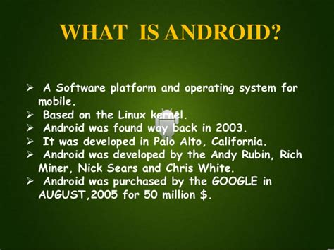 what is android ppt on android os vinit