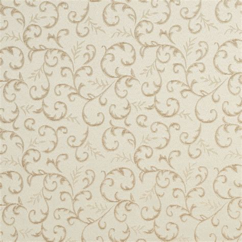 Drape Fabrics E642 Abstract Floral Ivory Silver Damask Upholstery Fabric