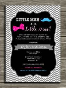 chevron gender reveal invitation baby shower mustache and bow