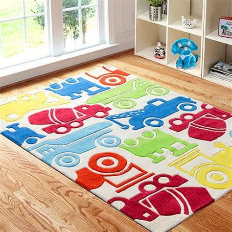 area rug with colorful cars for boys playroom all