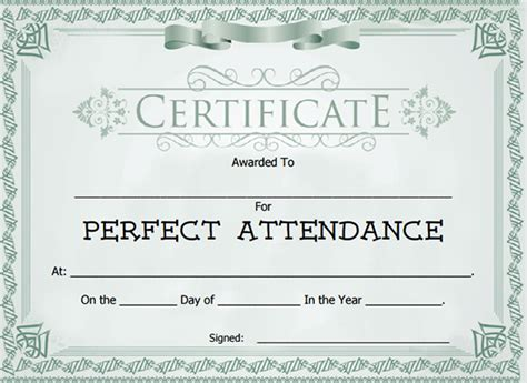 templates for attendance certificates attendance certificate template 24 free word pdf