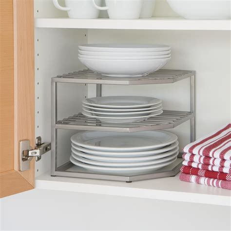 Shelf Organizer For Kitchen Cabinet | amazon com seville classics 2 tier corner shelf counter