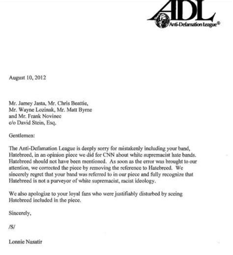 Apology Letter Understanding Anti Defamation League Apologizes To Hatebreed Metal Insider