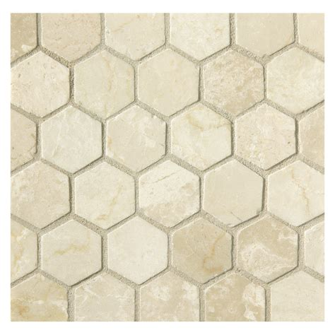 mosaic hexagon pattern hexagon 1 quot mosaic tile polished crema marfil marble