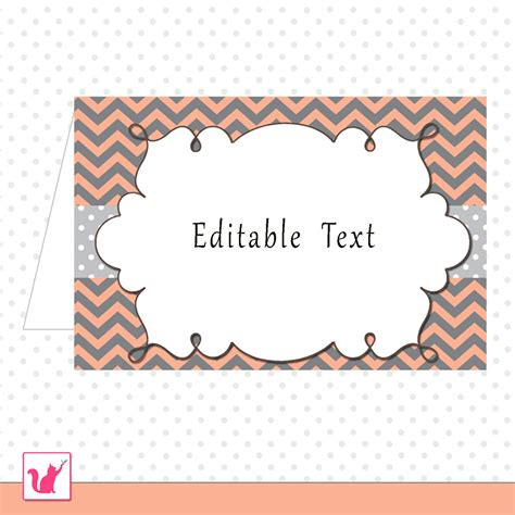 printable editable coral grey chevron food label folded tent card  occassion