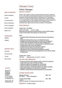 Health And Safety Coordinator Sle Resume by Safety Manager Resume Sle Exle Description Template Health Hazards Accidents