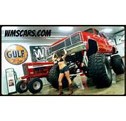86 Red K10 4X4 Chevy Square Body Jacked Up Lifted 3/4