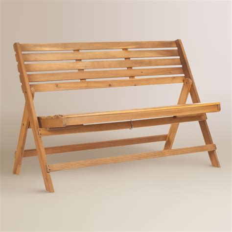 outdoor folding bench natural brown wood outdoor folding bench world market