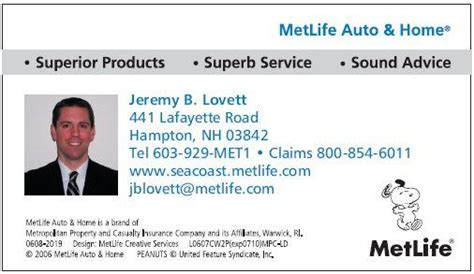 magnet business card from metlife auto home in hton