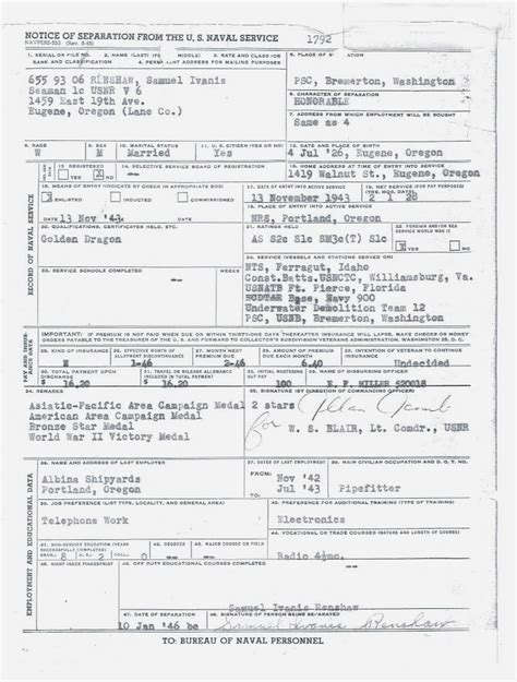 Report Records The Wwii Navy Report Of Separation My Service Records