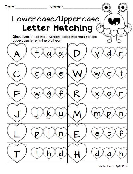 printable upper and lowercase letters of the alphabet february printable packet kindergarten literacy and math