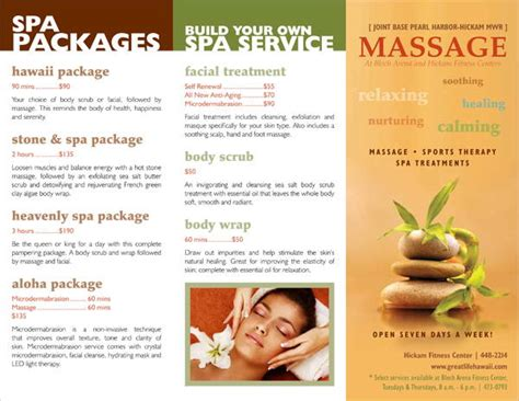 7 massage brochures printable psd ai indesign vector
