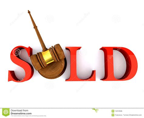 bid on hammer justice sold gavel auction bid isolat stock