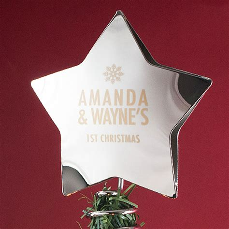 Alised Star Christmas Tree Topper Engraved Gifts