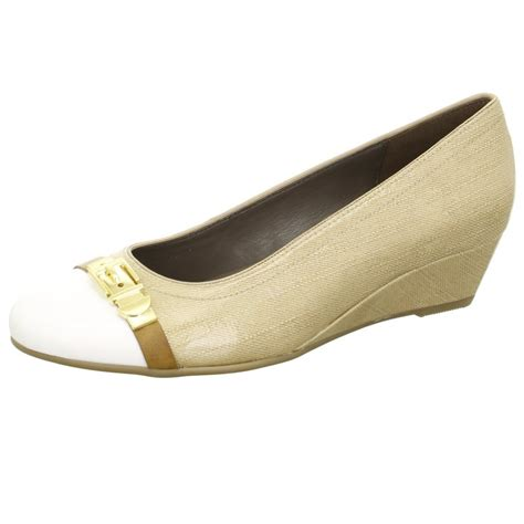 Wedges Js42 By Jenn Shoes 55239 05 beige with white patent toe wedge shoe