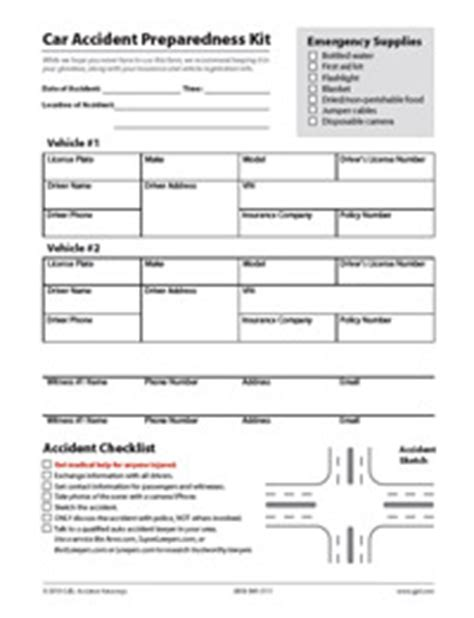 Car Accident Checklist What To Do After An Accident Personal Injury Checklist Template