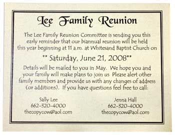 family reunion save the date cards templates invitations copy cow starkville copy shop call us at 662