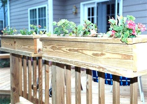 Plans For Planter Boxes For Decks by Wooden Deck Railing Planter Box Plans Pdf Plans