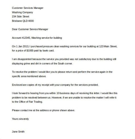 customer complaint letter word documents