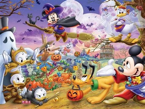 halloween cartoon mickey  minnie mouse donald duck pluto hd wallpaper  desktop